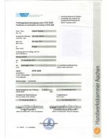 Немски сертификат DVS 22 20 в удостоверение на това, че притежателят на сертификата е обучен по технологията за ръчно ламиниране
